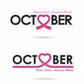Breast cancer awareness logo design.Breast cancer awareness month icon.Realistic pink ribbon.Pink care logo.October word logo elements design.Vector illustration poster