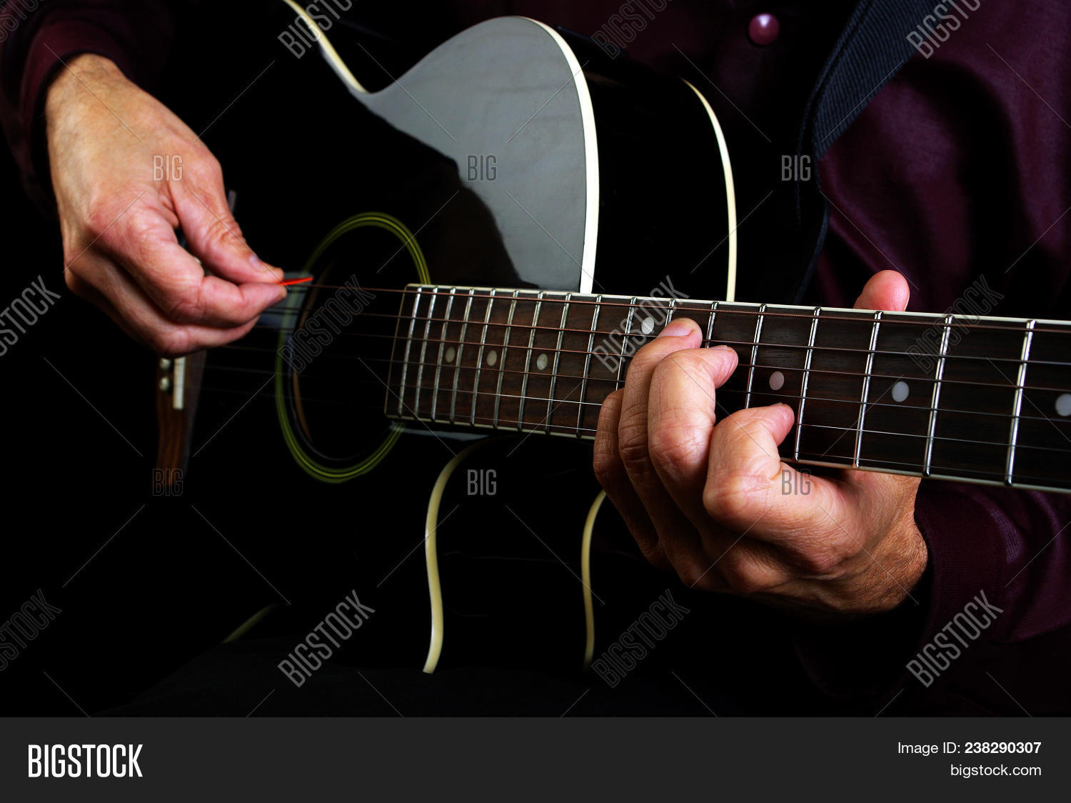 Playing Acoustic Image Photo Free Trial Bigstock