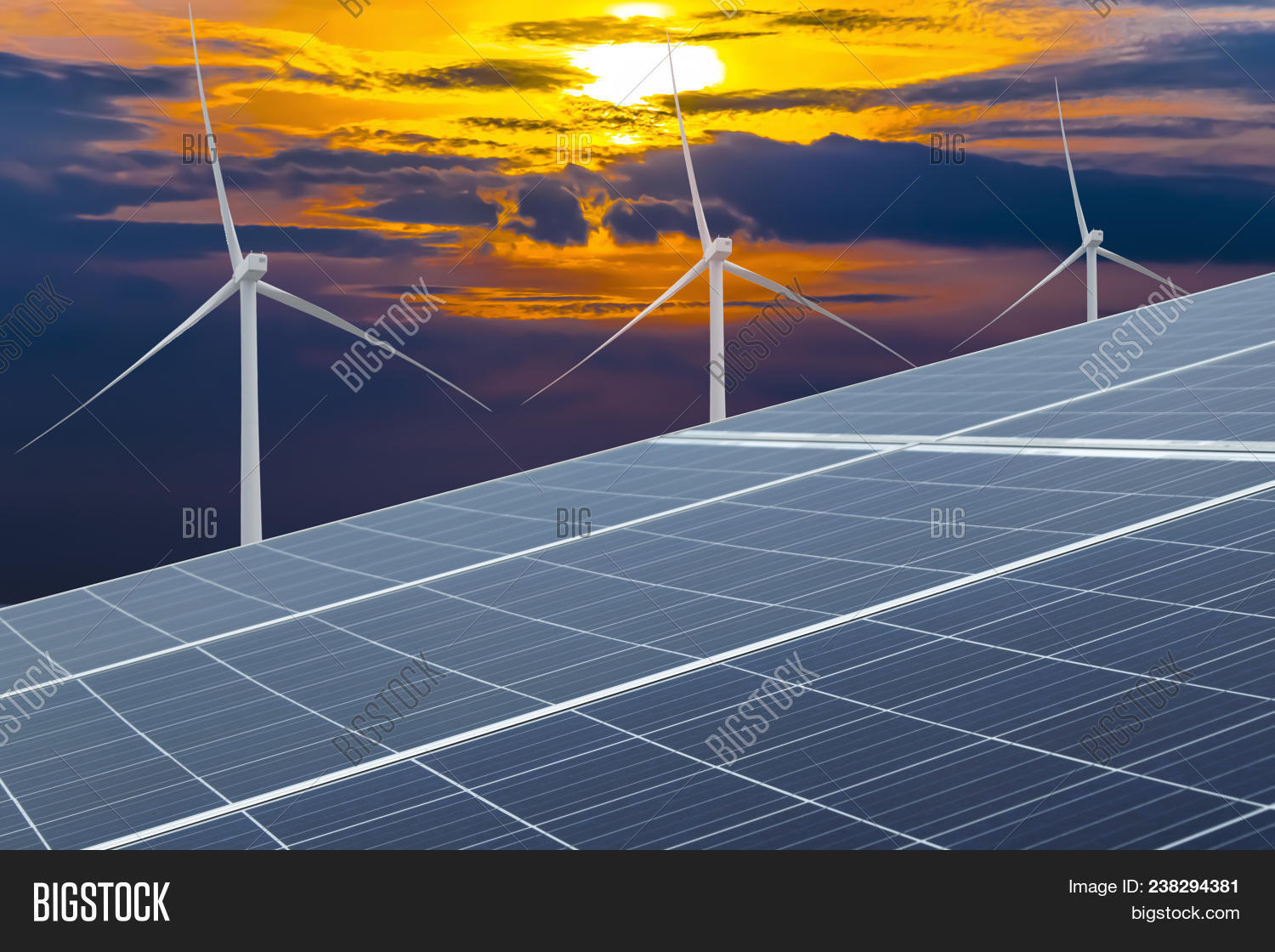 Solar Cells Wind Image Photo Free Trial Bigstock Generating Electricity And Turbines In Power Station Alternative Energy From Nature