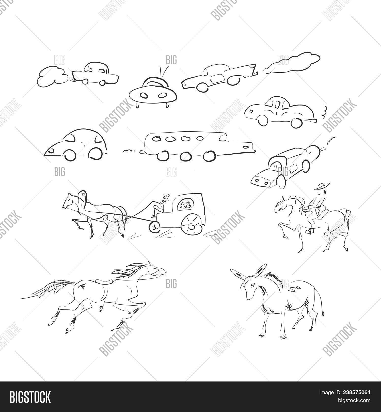 Different sketches of cars and horses on white background abstract drawing machines in a variety