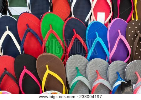 Colored Flipflops. Outdoor Multicolored Footwear For Summer