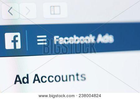 New York, Usa - April 26, 2018: Facebook Ads Account On Laptop Screen Close-up