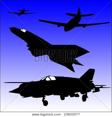 Silhouettes of Aircraft Vector