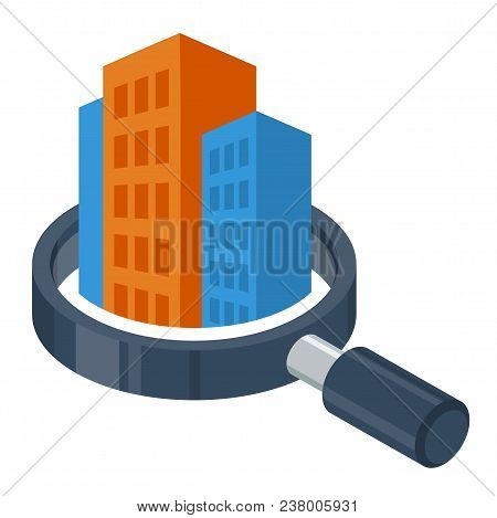 logo icon with search / review / inspection concept, for real estate / building inspector business, illustrated with magnifying glass and building poster