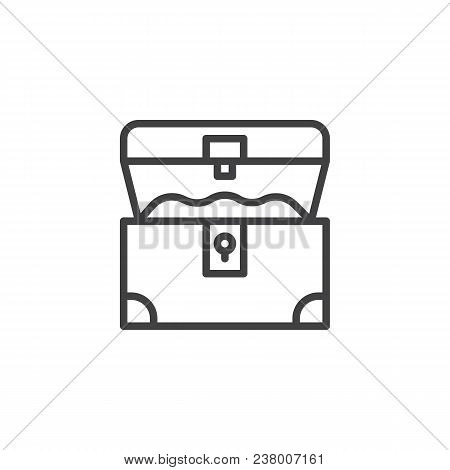 Opened Treasure Chest Outline Icon. Linear Style Sign For Mobile Concept And Web Design. Pirates Che