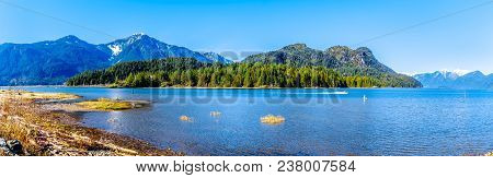 Panorama With A Fishing Boat On Pitt Lake With The Snow Capped Peaks Of The Golden Ears, Tingle Peak