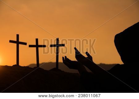 Human Hands Open Palm Up Worship., Concept For Christian, Christianity, Catholic Religion, Divine, H