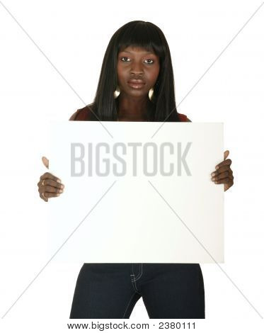 African American Girl Holding White Board
