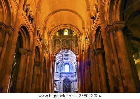 Lisbon, Portugal -  September 12, 2017 Basilica The Se Sedes Episcopalis Cathedral Lisbon Portugal.