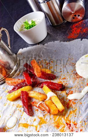 Vegetable French Fries With Herb Quark And Tomatoes