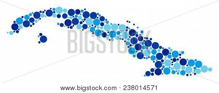 Cuba Map Composition Of Filled Circles In Different Sizes And Blue Color Tinges. Random Filled Circl