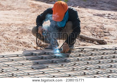 Welding Steel Structure At Construction Site,hard Work.