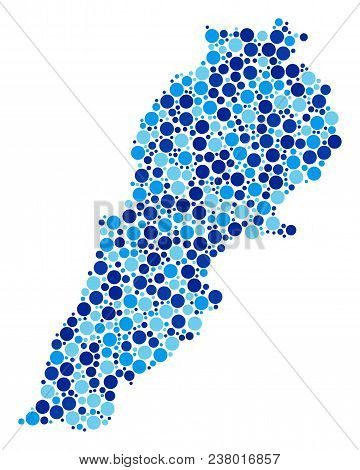 Lebanon Map Collage Of Filled Circles In Variable Sizes And Blue Color Tinges. Random Circle Element