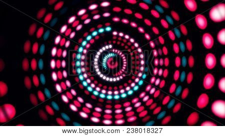 Colorful Dance Floor With Several Shining. Sound Waves, Dance Of Lines And Light. Rainbow Spectrum O