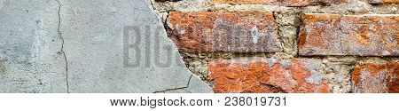 Banner Of Old Vintage Brick Wall With Concrete, Weathered Texture Of Racked Concrete Vintage Brick W