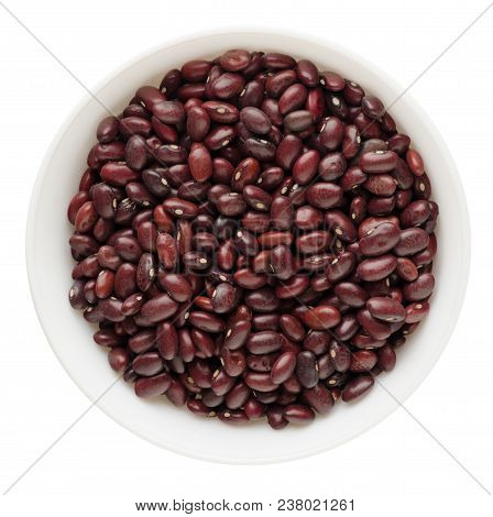 Red Beans In A Bowl Isolated On White Background. Red Beans Top View .vegan Food