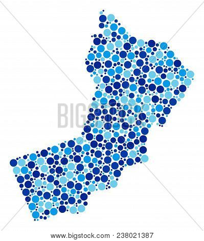Yemen Map Mosaic Of Dots In Different Sizes And Blue Color Tinges. Random Small Spheres Are Combined