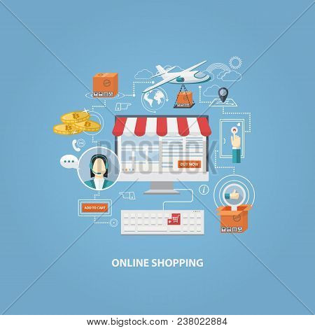 Crypto Currency Shopping Concept, Buying Online And E-commerce Poster, Online Shop And Shopping Elem