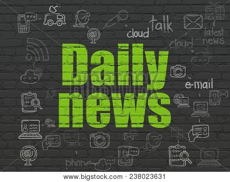 News Concept: Painted Green Text Daily News On Black Brick Wall Background With Scheme Of Hand Drawn