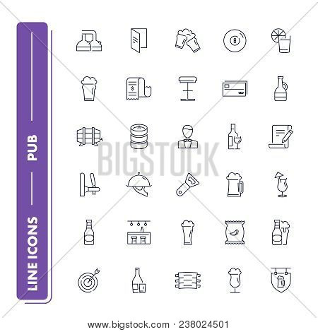 Line Icons Set. Pub Pack. Vector Illustration With Beer And Other Alcohol And Food Element With Engl