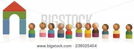 Acceptance, Asylum, Access - Isolated Vector Illustration On White Background.