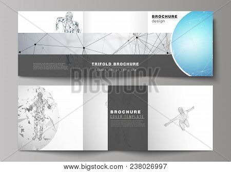 Minimal vector illustration of editable layout. Modern creative covers design templates for trifold square brochure or flyer. Artificial intelligence concept. Futuristic science vector illustration. poster