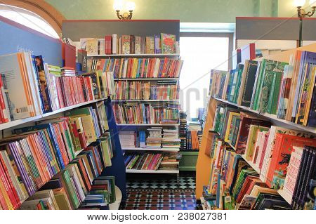 St. Petersburg, Russia - March 28, 2018: Book Store Shelves With Rows Of Various Colorful Books. Mod
