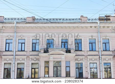 Historic Building Facade In St. Petersburg, Russia. Renovated Old Architecture, Front View Of Classi