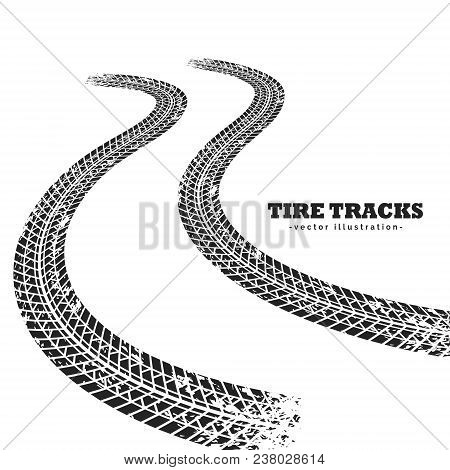 Road Tire Tracks On White Background In Perspective
