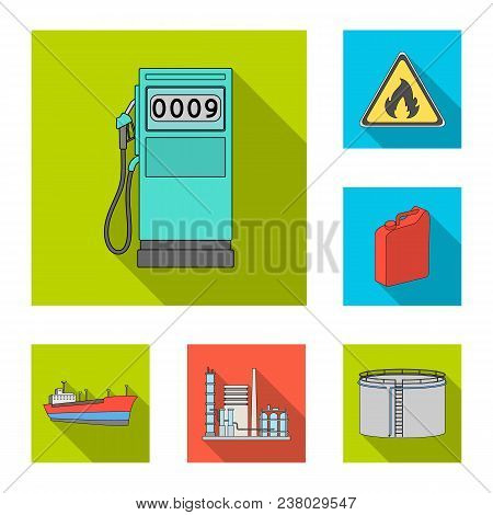Oil Industry Flat Icons In Set Collection For Design. Equipment And Oil Production Vector Symbol Sto