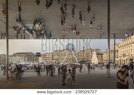 Marseilles,france-august 10,2016:mirror Structure At The Old Port Of Marseille Created By Norman Fos