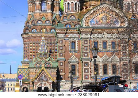Architecture Facade Detail Of Church Of Our Savior On Spilled Blood In Saint Petersburg, Russia. Ort