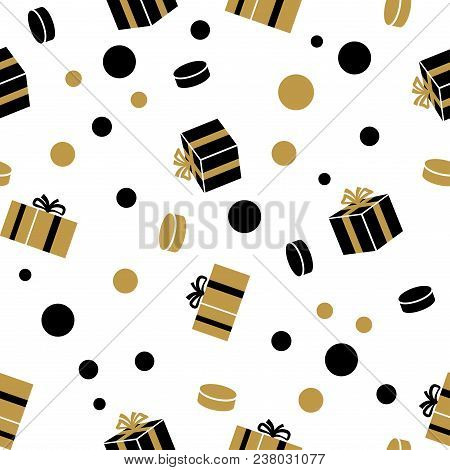 Holiday Presents Seamless Pattern With Wrapped Gifts And Sweets. Black And Gold Giftboxes Vector Ill