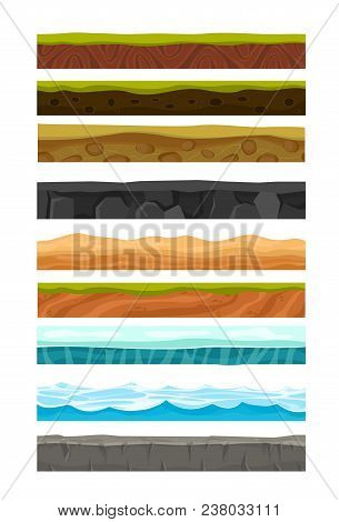 Vector Illustration Set Of Grounds, Soil And Land For Ui Game. Collection Of Cartoon Soils And Land