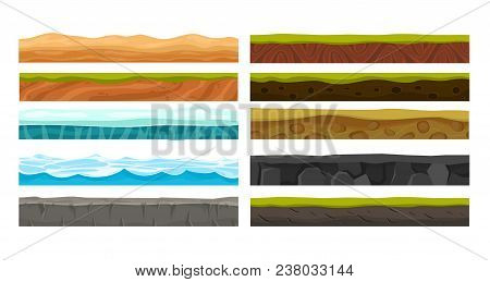 Vector Illustration Set Of Grounds For Ui Game. Collection Of Various Land Foreground Area, Rocks, W