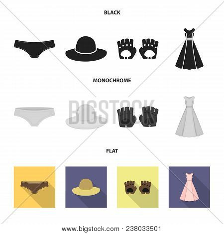 Panties, Gloves, Dress, Hat. Clothing Set Collection Icons In Black, Flat, Monochrome Style Vector S