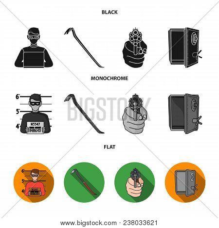Photo Of Criminal, Scrap, Open Safe, Directional Gun.crime Set Collection Icons In Black, Flat, Mono