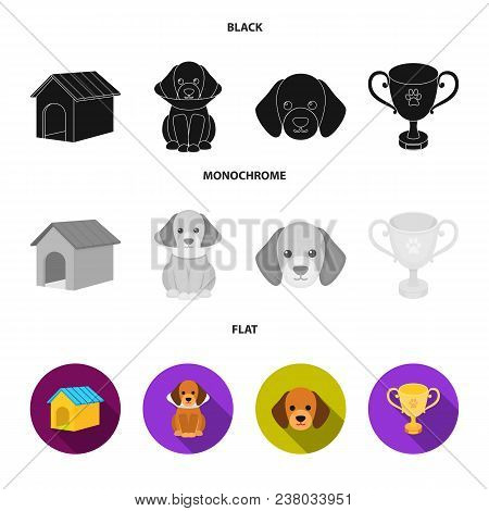 Dog House, Protective Collar, Dog Muzzle, Cup. Dog Set Collection Icons In Black, Flat, Monochrome S