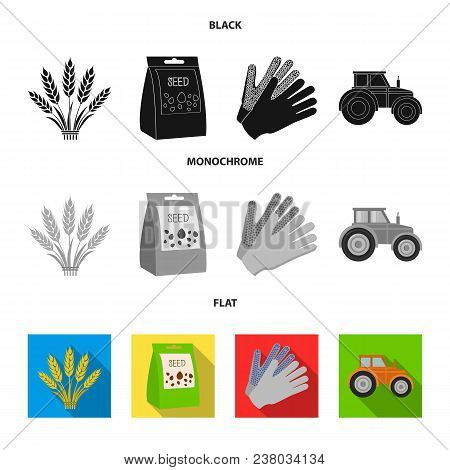Spikelets Of Wheat, A Packet Of Seeds, A Tractor, Gloves.farm Set Collection Icons In Black, Flat, M