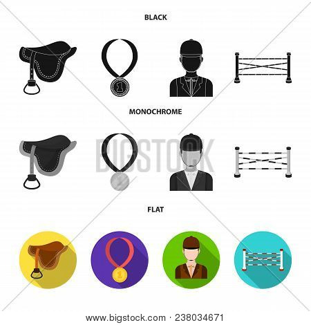 Saddle, Medal, Champion, Winner .hippodrome And Horse Set Collection Icons In Black, Flat, Monochrom