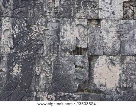 Focus On Ancient Mayan Stony Relief With Pictograph At Ruins Of Chichen Itza City In Mexico, Most Im