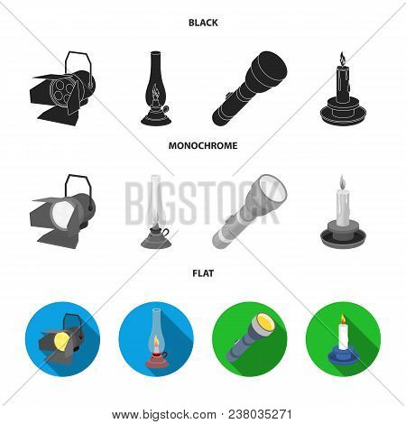 Searchlight, Kerosene Lamp, Candle, Flashlight.light Source Set Collection Icons In Black, Flat, Mon