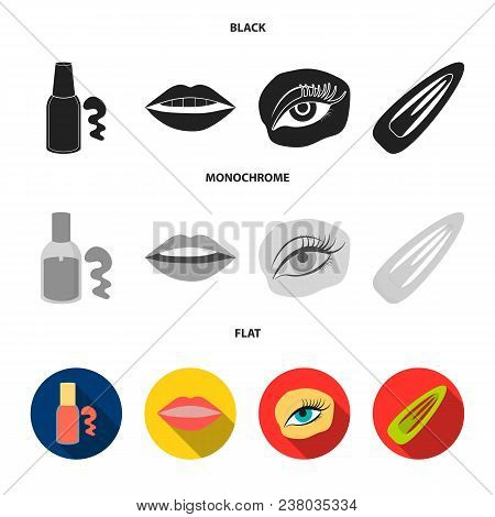 Nail Polish, Tinted Eyelashes, Lips With Lipstick, Hair Clip.makeup Set Collection Icons In Black, F
