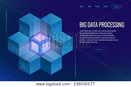 Isometric Digital Technology Web Banner. Analysis And Information. Big Data Access Storage Distribut