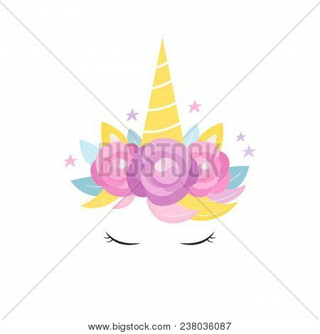 Unicorns Horn With Flowers And Eyelashes Card, Invitation Or Apparel Vector Design.