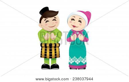 Muslim Boy And Girl With Praying Post. Isolated.