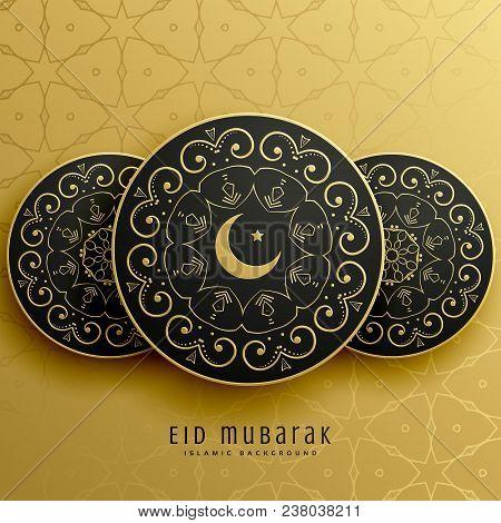 Eid Mubarak Greeting Card Design In Islamic Decoration