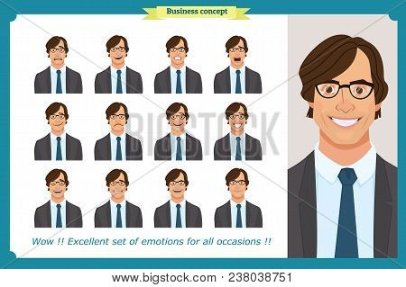 Set Of Male Facial Emotions. Young Business Man Character With Different Expressions.vector Flat Ill
