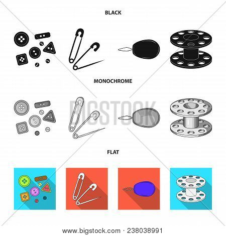 Buttons, Pins, Coil And Thread.sewing Or Tailoring Tools Set Collection Icons In Black, Flat, Monoch