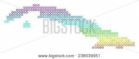Spectral Cuba Map. Vector Geographic Map In Bright Spectrum Color Tones. Spectrum Has Vertical Gradi